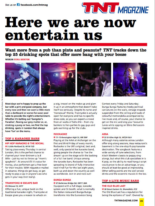 Rockaoke in TNT magazine