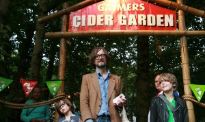 Jarvis Cocker and his son Albert (left) and his friend leave the Gaymers cider garden on Friday night at Latitude arts and music festival in Suffolk ***Pic by David McHugh 07768 721637****