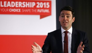 Labour Party leadership candidate Andy Burnham speaks during a hustings event in Stevenage