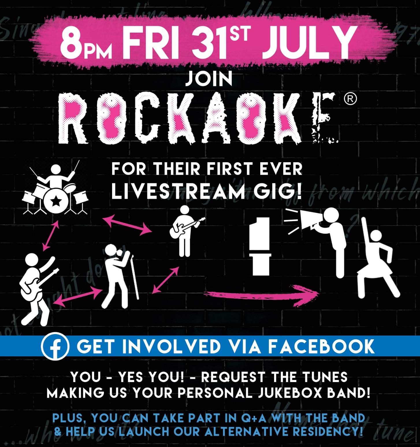 Rockaoke livestream gig flyer 31 july 2020